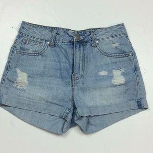 RSQ Ladies Distressed Denim Mom Shorts Sz 1